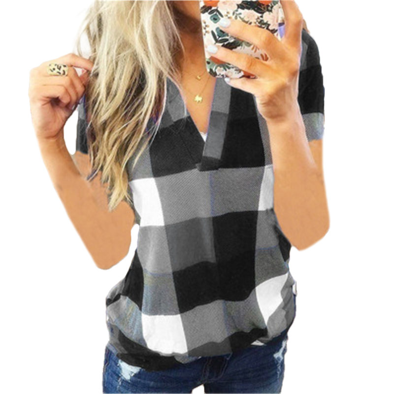 Women Blouses Summer V Neck Plaid Short Sleeve Loose Tops Casual Shirt Blouse Ladies Blouse Plus Size Womens Shirt Tops