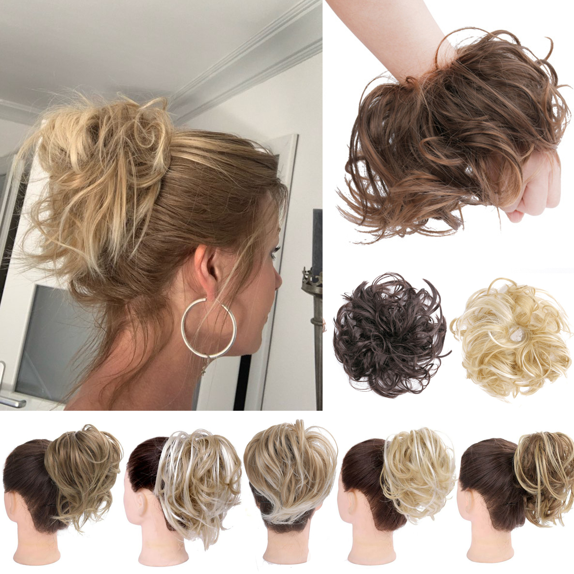 2020 Newest Fashion Curly Messy Hair Ring Scrunchie Ponytail Holder HeadBands Headwear HairBands Hair Accessories Styling Tool
