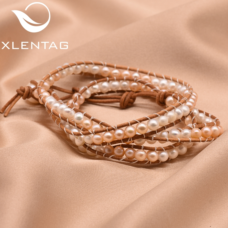 XlentAg Natural Wound Natural Fresh Water Pearl Leather Bracelet Woven Bracelet White Pink For Women Girl Fine Jewelry GB0158