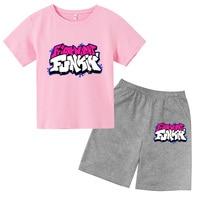 Funkin-Conjuntos de verano para niños y niñas, camisetas de algodón puro + Pantalones cortos, trajes de manga corta de 4T-14T