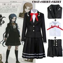 Danganronpa V3 Killing Harmony Tsumugi Shirogane kostium cosplayowy mundurek szkolny płaszcz kostiumowy + koszula + spódnica z Bowtie zestawy dla kobiet