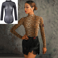 Latin Dance Dress Dancing Tops Practice Clothes Women igh Collar Open Back Gymnastics Suit Dance Shirt Ballroom Wear BI118