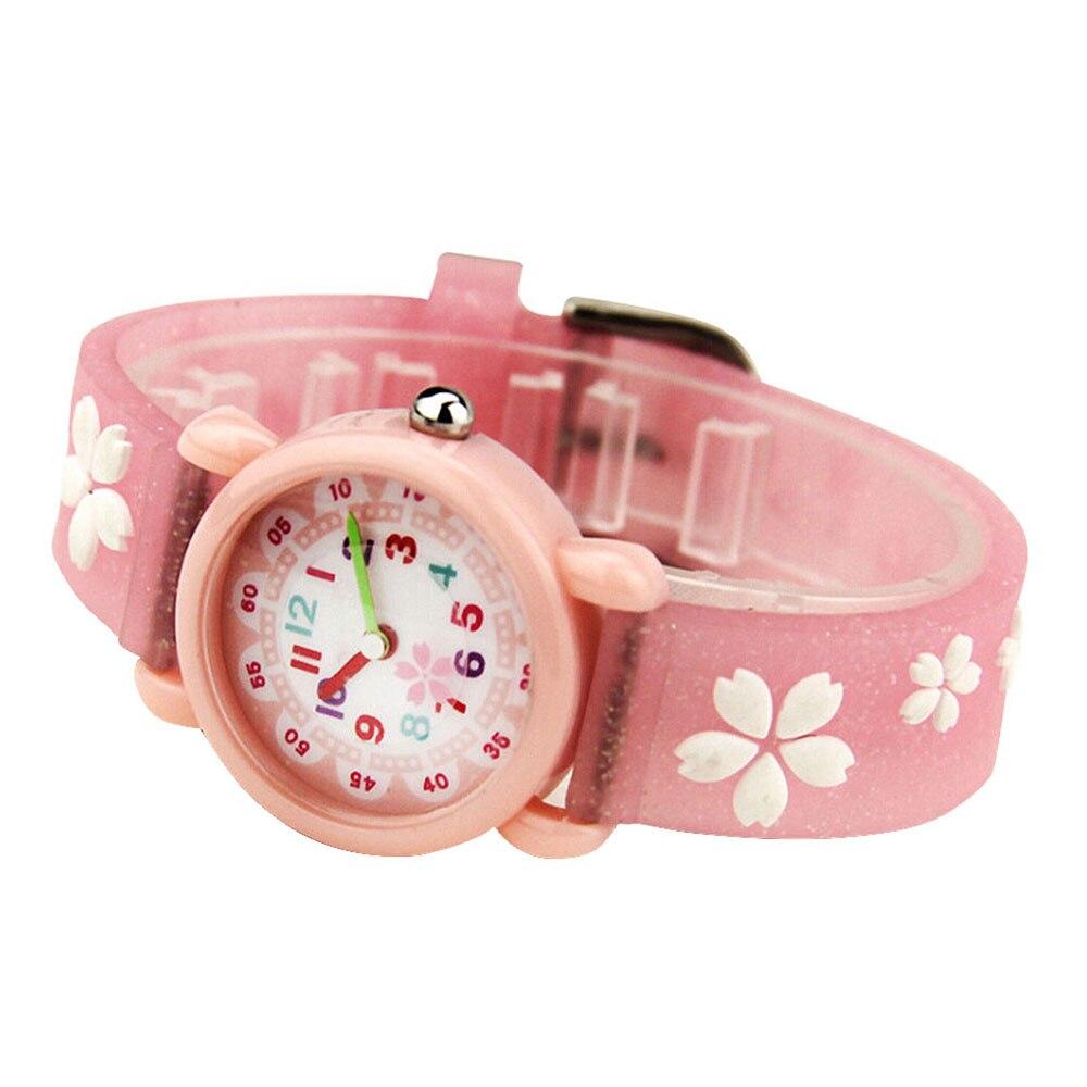3D Flower Glitter Strap Quartz Kids Watches Cartoon Silicone Children Watches For Boys Girls Cute Clock  Relogio Feminino Hot