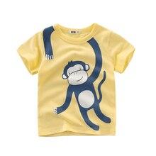 Футболки Детская футболка с обезьянкой для мальчиков летние топы с короткими рукавами с изображением Льва из мультфильма, одежда для детей от 2 до 8 лет