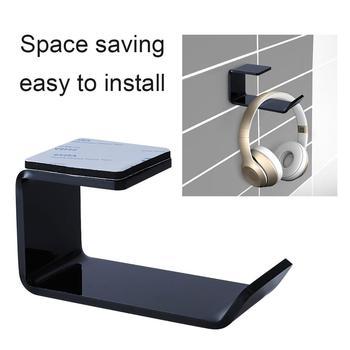 Стикер акрилна скоба за слушалки стенен държач за слушалки закачалка под кука за бюро слушалки лепкава стойка за дисплей