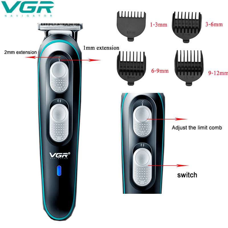 VGR Home Professional Electric Hair Clipper Oil Head Clipper Shaving Head Engraving Bald Hair Clipper Men's Beard Trimming Angle