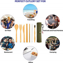 Bamboo Utensils Cutlery Set Reusable Travel Eco-Friendly Wooden Camping Outdoor Portable zero waste set