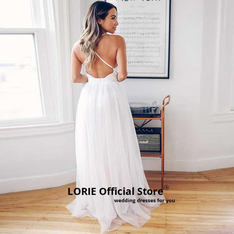 LORIE Profundo Decote Em V A Linha de Vestidos de Noiva 2019 Praia Boho Vestido de Noiva Whit Vestidos de Casamento Do marfim Macio Tulle Dividir vestido de noiva