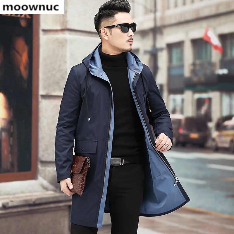 2019 New Autumn winter Fashion Men's Clothing Blazers Slim Fit hooded Jackets double-sided casual wind coat Coat for Men
