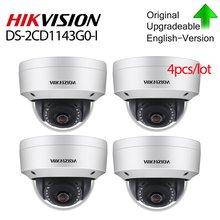 Hikvision Original Câmera POE 4 DS-2CD1143G0-I pçs/lote 4MP IR Rede Dome Câmera de Vídeo 30M IR IP67 IK10 H.265 + slot para cartão SD