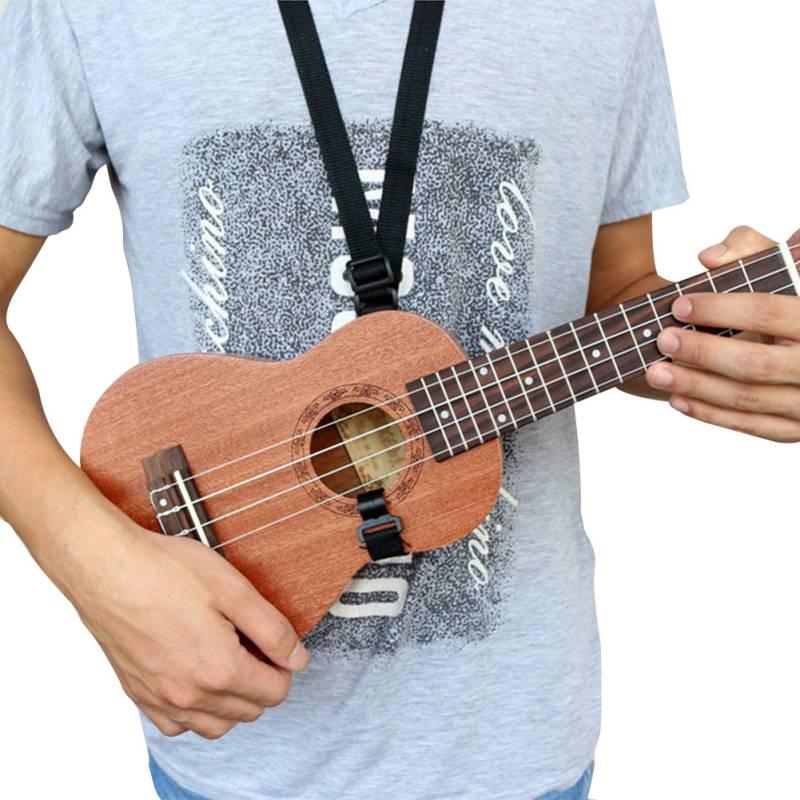 2pcs Ukulele Strap Belt Adjustable Guitar Mandolin Instrument Hook Black Guitar Accessories Black Hang Neck Strap  Hot