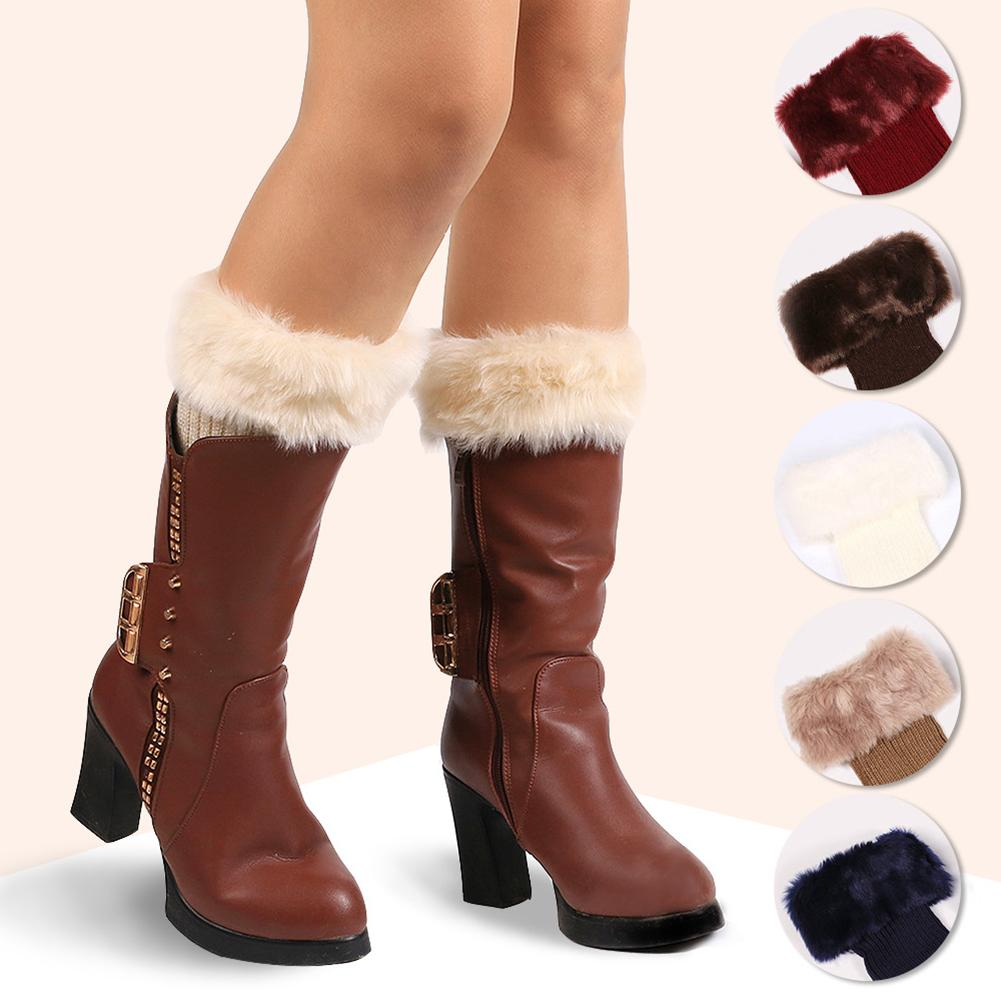 Women Solid Color Faux Fur Crochet Knit Leg Warmers Cuffs Toppers Boot Socks Warm Boot Cuffs Beenwarmers Long Christmas Gift