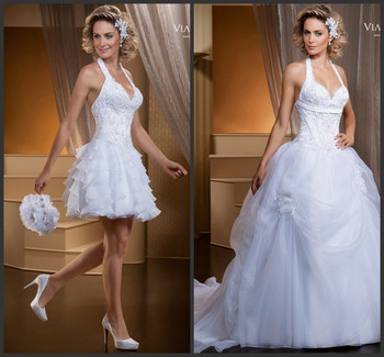 casamento Vestido de noiva special Two In One wedding dress 2015 hot sale sweetangel bridal gown for brides with removable skirt