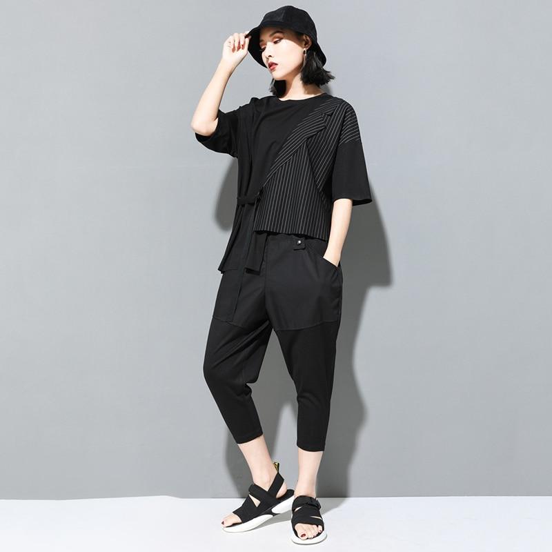 [EAM] Women Black Striped Asymmetrical Big Size T-shirt New Round Neck Half Sleeve  Fashion Tide  Spring Summer 2020 JT230 5