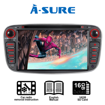 A-Sure 7 Car Auto Radio GPS Player DVD Navigation For Ford Mondeo Focus MK2 Galaxy S-Max C-Max Kuga USB Port RDS BT Mirror Link image