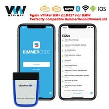Vgate vlinker bm + elm327 v2.2 para bmw scanner bluetooth 4.0 wifi obd 2 obd2 carro diagnóstico elm 327 ferramenta de automóvel para bmw bimmercode