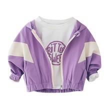 Spring Autumn Girls Jacket Coat Children's Jacket Baby Clothes Sport Stitching Design Hooded Coat Tops Outwear Kids Clothes стоимость