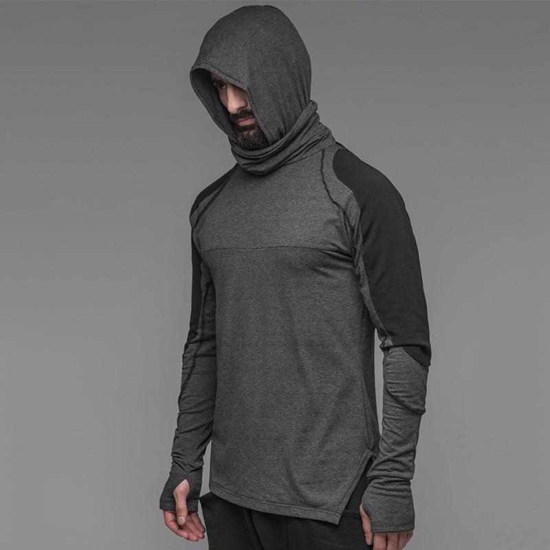 Men Hoodies Sweatshirts Warrior Knight Mask Hooded Pullover Long Sleeve Hacker Evil  Hoodie Windproof  Autumn Winter Splice Tops