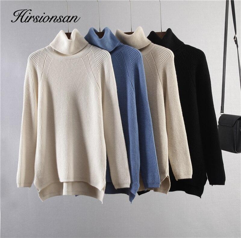 Hirsionsan – pull à col roulé épais en cachemire pour femme, pull tricoté, doux et chaud, couleur unie, style coréen, nouvelle collection automne hiver 2020