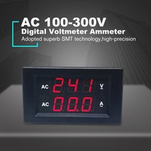 10A AC Digital Dual LED Display Voltmeter Ammeter Amp Volt Voltage Current Meter Tester High Precision rt300m led ultra bright backlight smart voltage current tester 300ma digital led tester for laptop ac 90 265v with tester pens