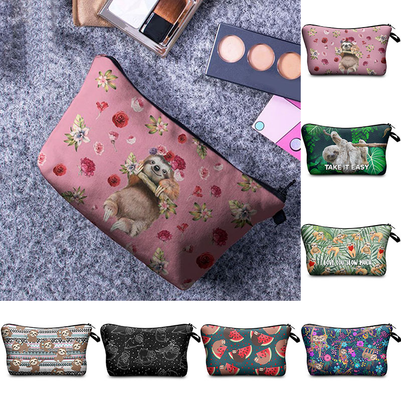 Women Makeup Bag 3D Printing Sloth Toiletry Bag Travel Toiletries Organizer Cosmetic Bag Female Storage Make Up Cases Pouch