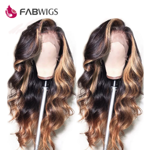 Image 5 - Fabwigs 180% Dichtheid Hoogtepunt Blonde Lace Front Menselijk Haar Pruiken Braziliaanse Golvend 1b/27 13X4 Lace Front pruik Pre Geplukt Remy