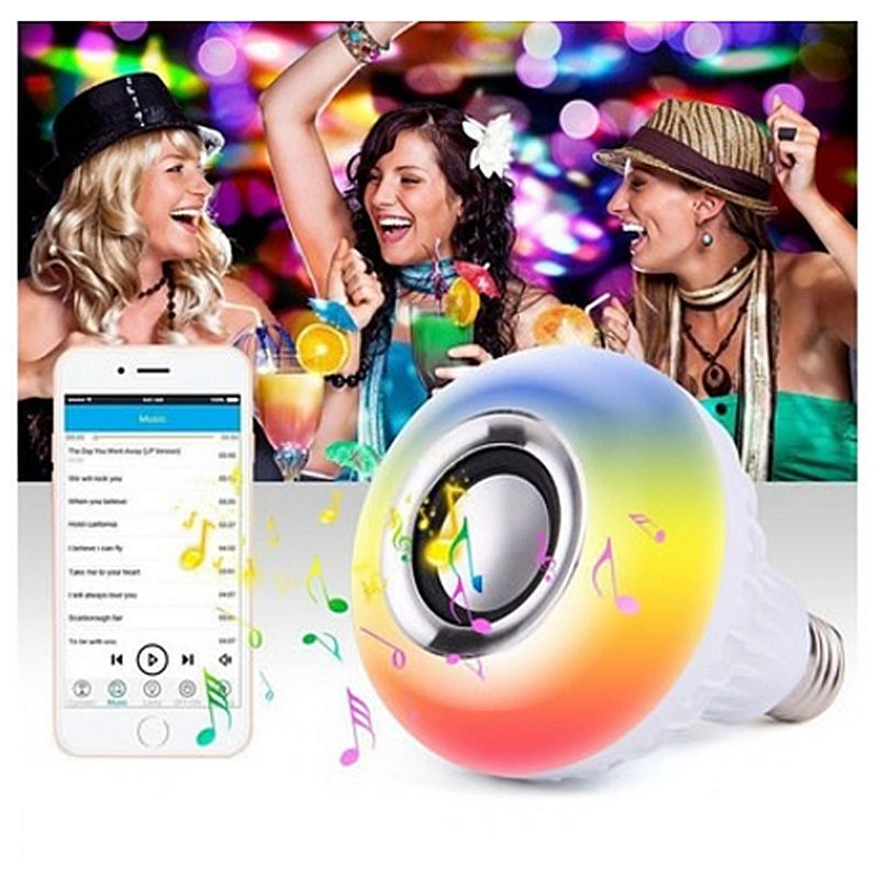 LED RGB Color Bulb Light E27 12W Bluetooth Control Smart Music Audio Speaker Lamp