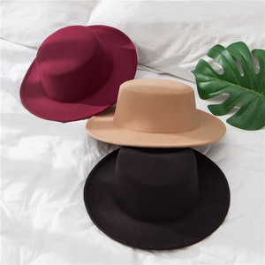 New Classic Solid Color Felt Fedoras Hat for Men Women artificial wool Blend Jazz Cap Wide Brim Simple Church Derby Flat Top Hat