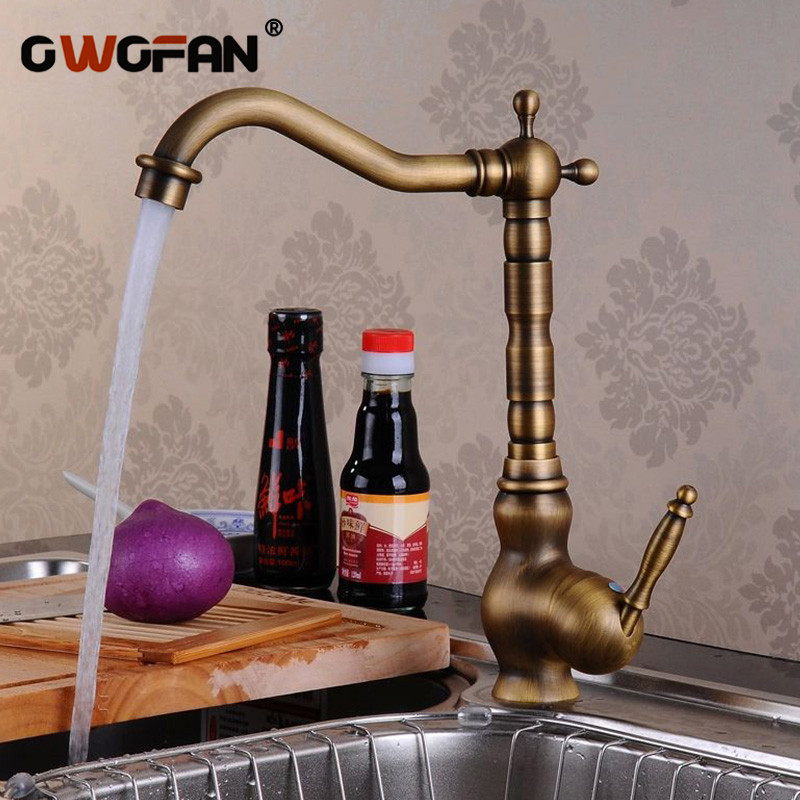 Antique Brass Kitchen Faucets High Arch Tap Classic Retro Water Crane Kitchen 360 Degree Swivel Hot And Cold Mixer Taps HJ-6718F