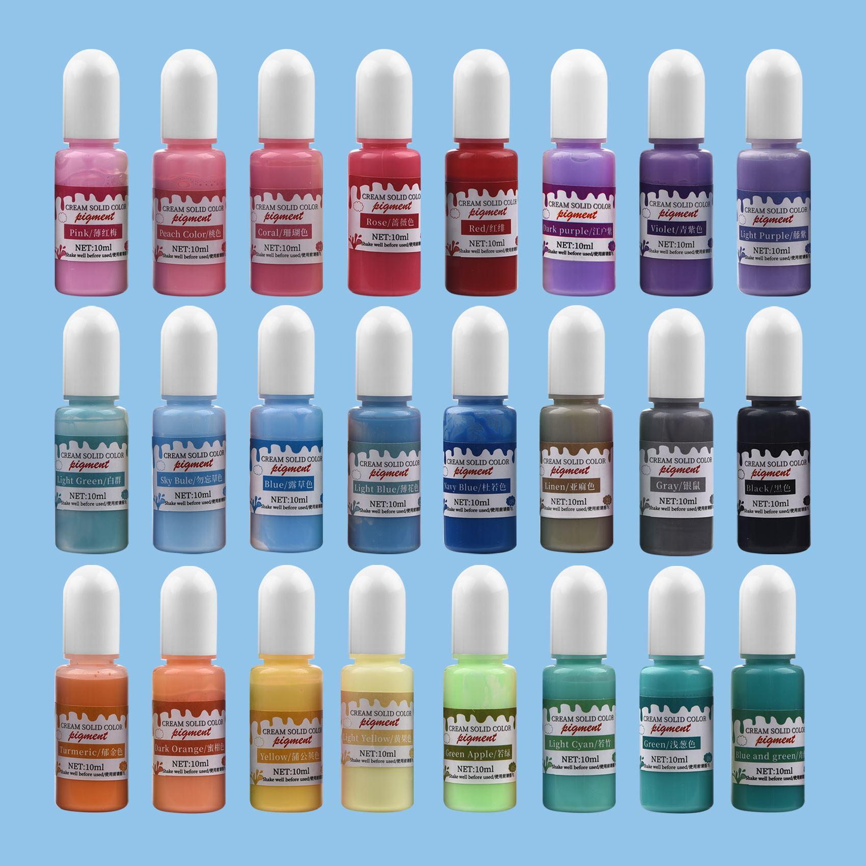 Reçine pigmentleri 24 renk 10ml sıvı epoksi reçine Pigment reçine kalıp boyama boya renklendirici el yapımı DIY takı yapımı el sanatları