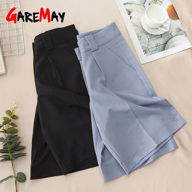 Women's Summer Shorts 2021 Long with High Waist Female Loose White Classic Knee-Length Office Wide Women's Shorts Black Candy 3