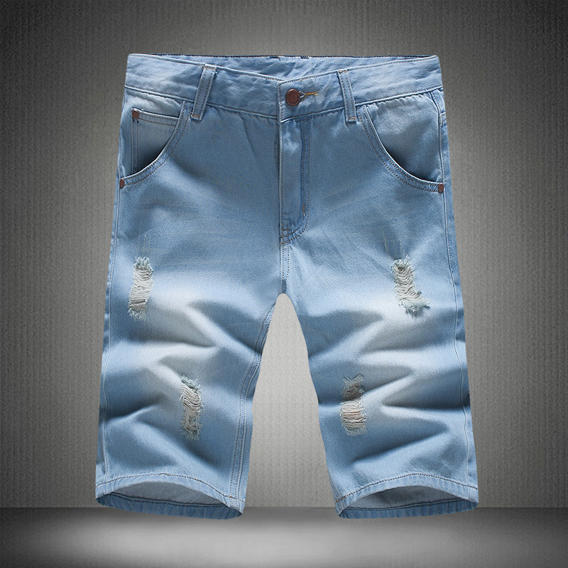 Run The Amount Of Korean-style Men's Knee-length Denim Shorts Cowboy Shorts Activity-Large Size 28-40 Yards