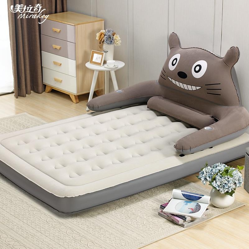 Inflatable Mattress Cartoon Backrest Mattress Single Double Home Bedroom Air Bed