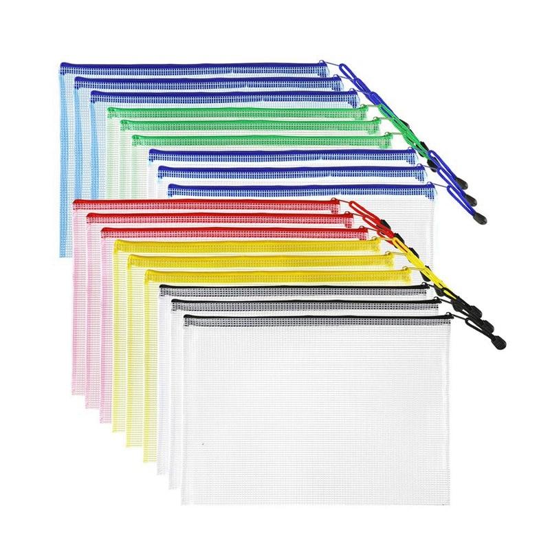 18Pcs Plastic Mesh Zip Document Holder, Letter Size Waterproof Document Pouch For School Office Supplies, Arts & Crafts Organizi