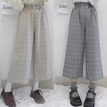 Mori Girl/милые женские брюки в клетку с широкими штанинами длиной до щиколотки, клетчатые брюки, повседневные осенние штаны с высокой талией, цвет бежевый и серый