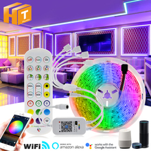 RGB LED Strip Light 2835  5050 Flexible Neon Ribbon 5m 10m 15m 20m RGB Changeable Wifi Music Controller  + DC12V Adapter Plug.