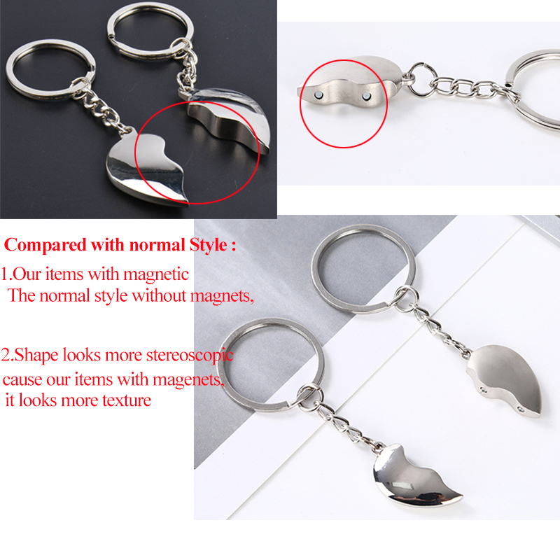 Romantic Whale Couples Key Chain w// Magnet Lovers Gift Pendant Trinket Lock Ring