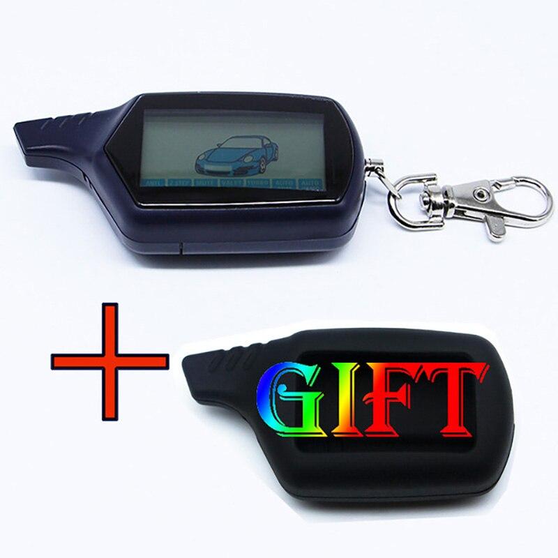 Otomobiller ve Motosikletler'ten Hırsız Alarm'de NFLH B6 2 Way LCD uzaktan kumanda anahtarlık rus araç güvenlik iki yönlü araç Alarm sistemi Twage Starline b6 title=