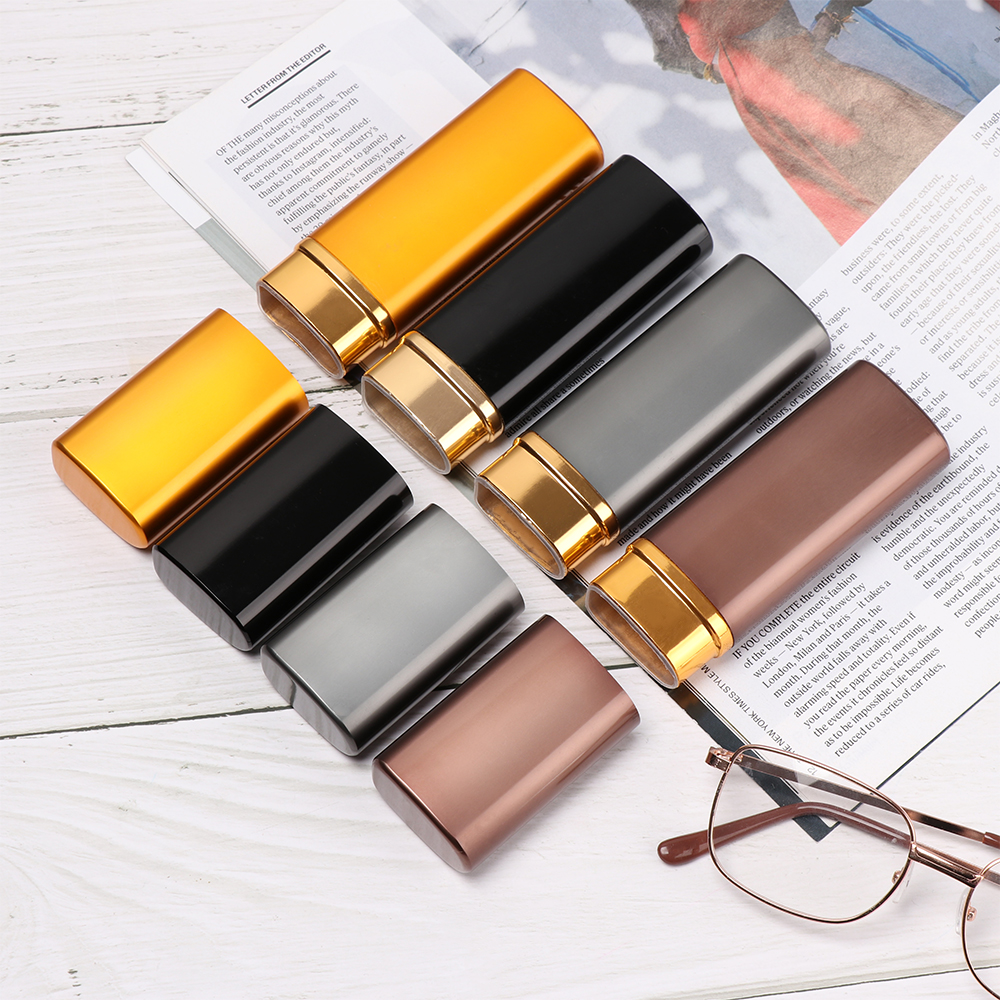 Fashion Women Men Portable Mini Alumina Pencil Glasses Box Metal Mini Portable Reading Glasses Sunglasses Case Eyewear Protecto