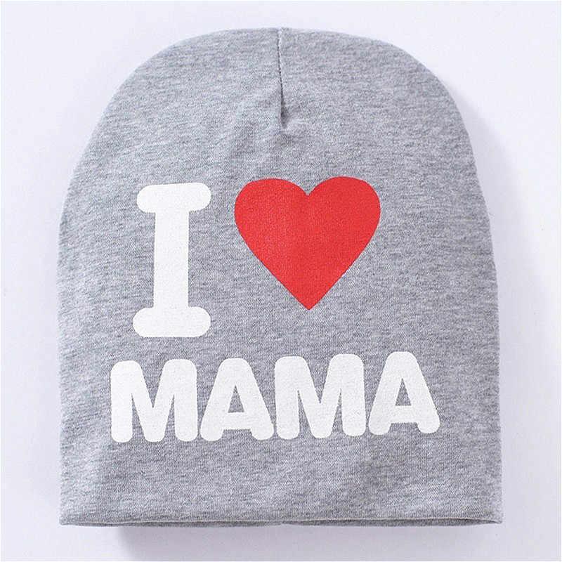 น่ารักหูหมวกเด็กทารกแรกเกิดเด็กหญิงฝ้าย Skullies Beanie Soft ฤดูใบไม้ผลิเด็ก I Love Mama Papa พิมพ์หมวก