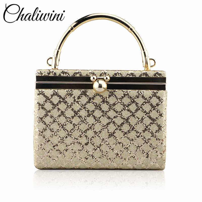 New Fashion Sequined Bucket Clutch Women'S Evening Bags Bling Day Clutches Gold Wedding Purse Female Handbag 2019 Banquet Bag