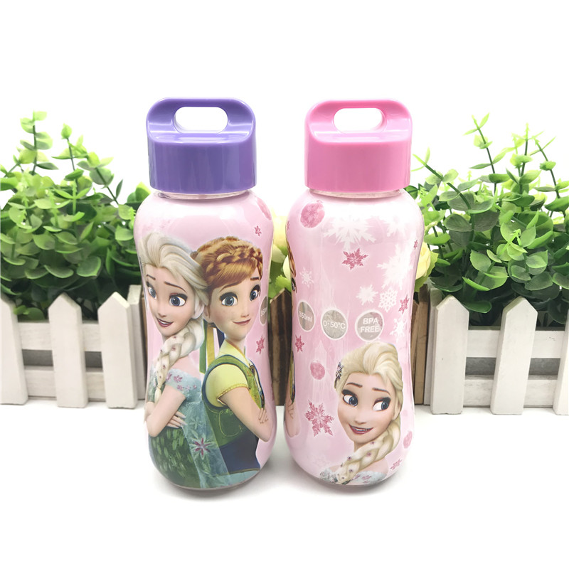 1pcs  Disney Girls Frozen Princess  Elsa Anna Rope Cup 300 ML  Water Bottle Boys  Cars Mickey Cup Gift