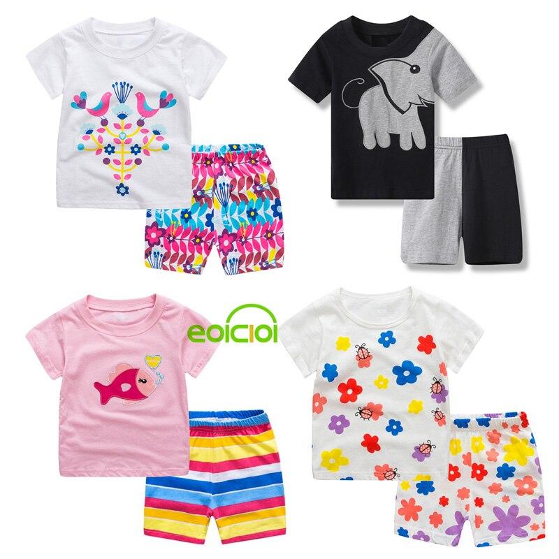 New Girls Boys Cotton Short Sleeve Pajamas Set Kids Animal Dinosaur Flower Sleepwear Baby Summer Pyjamas Children Nightwear 1-7Y