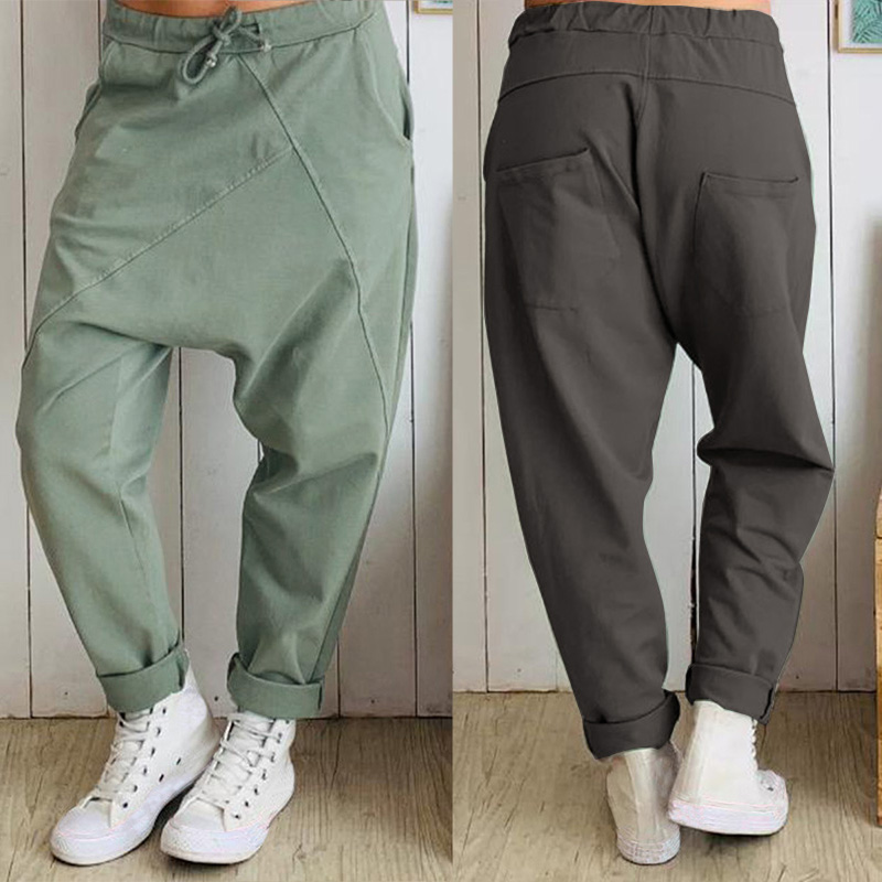 2019 ZANZEA Women Drop-crotch Pants Ladies Casual Loose Elastic Waist Trousers Patchwork Plus Size Long Pants Female Streetwear