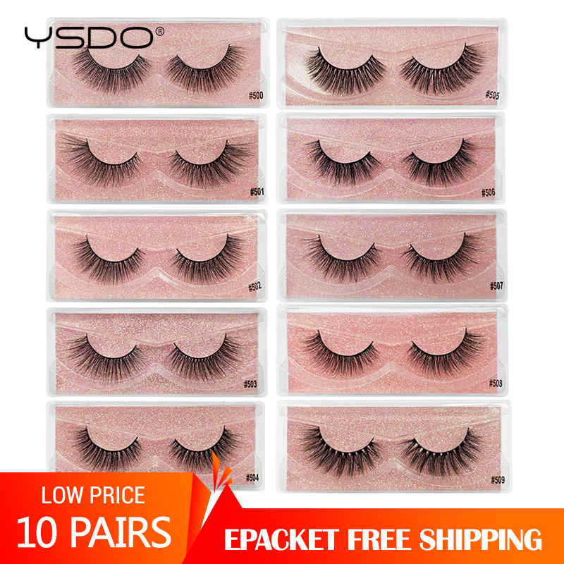<font><b>Eyelashes</b></font> wholesale <font><b>10</b></font> <font><b>pairs</b></font> faux mink <font><b>eyelashes</b></font> makeup wispy 3d mink lashes in bulk natural false eye lashes thick fake lashes image
