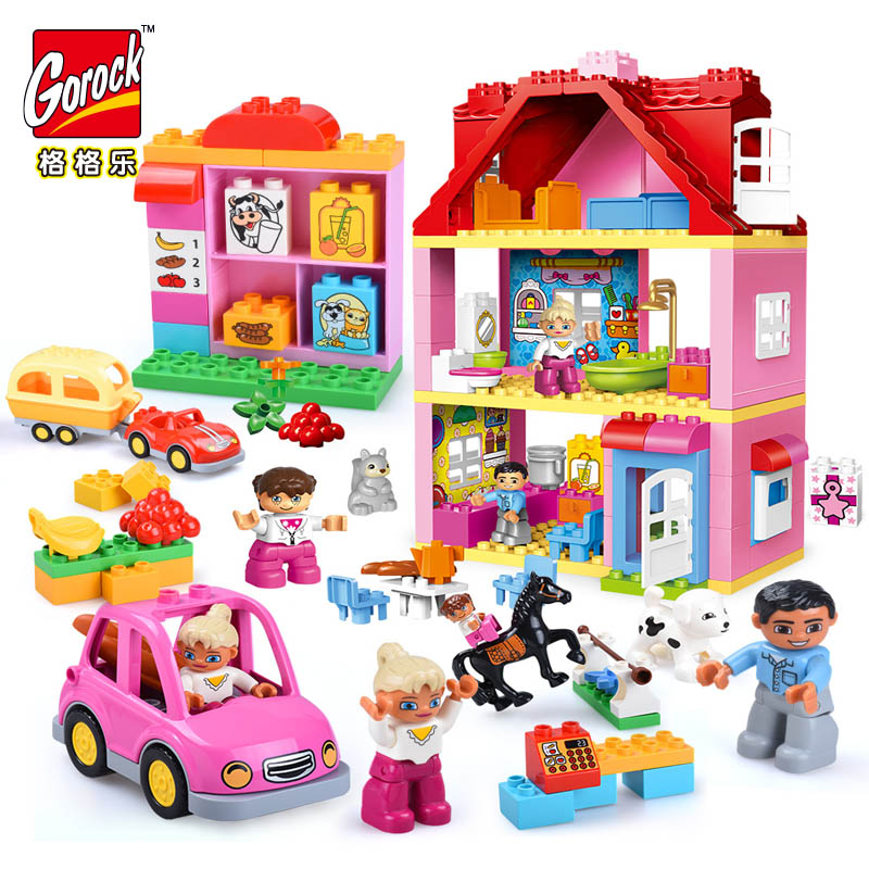 Pink City Girl Princess Figure Family House Kids Big Size Building Blocks Educational Bricks Toys Gifts Compatible With Duplo