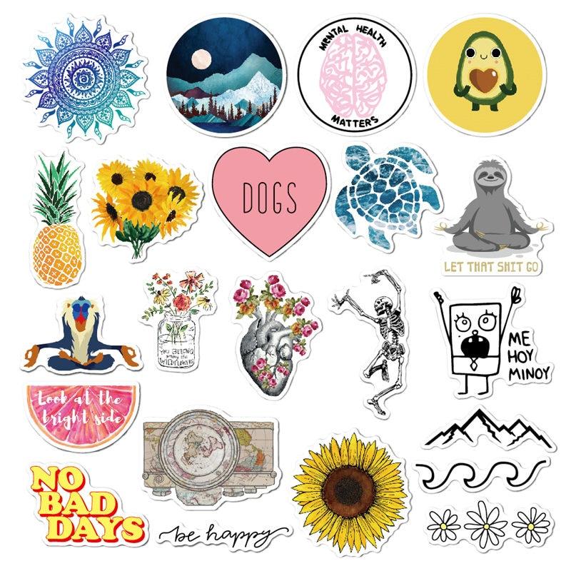 Cute Sunflower Waterproof Sticker Pack Girls Handbag Phone Fridge Laptop Sticker