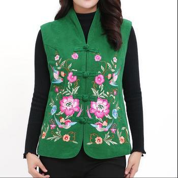 Haftowane kamizelki etniczne chińskie tradycyjne kamizelki bawełniane zimowe damskie kamizelki tanie i dobre opinie COTTON CN (pochodzenie) Topy WOMEN Sukno