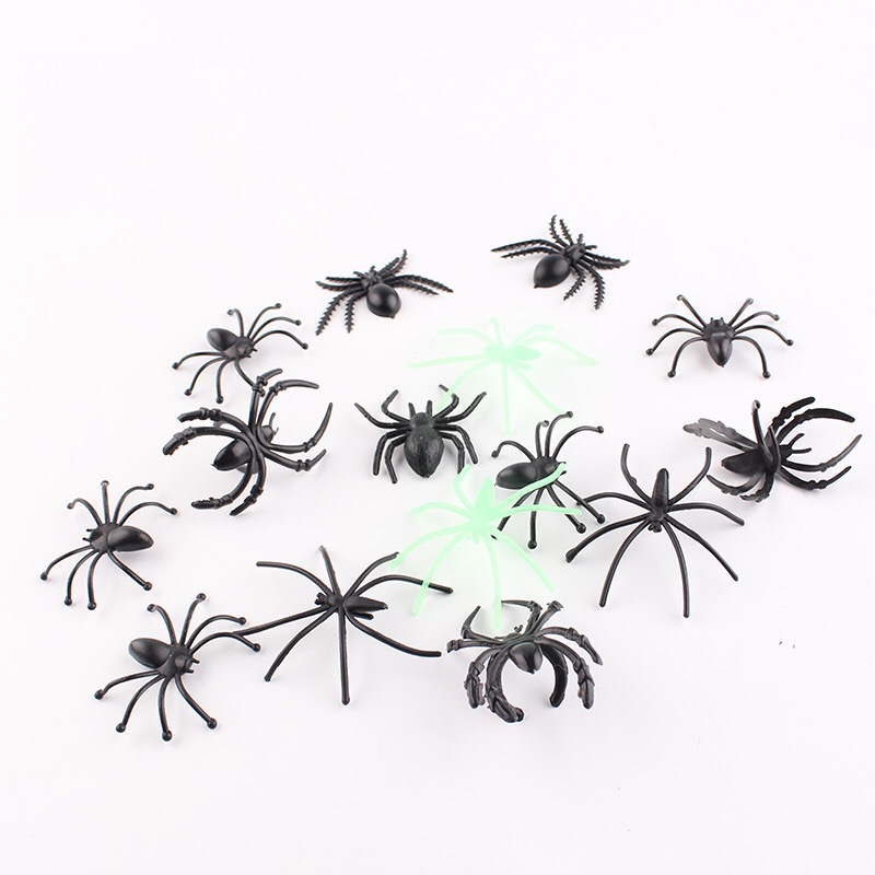 Mini plush spider made of wire and plush black and multicolour style for party or halloween decorations 30pcs/lot