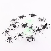 Useful 30pc 4*4.3cm mixed Plastic Black Spider Halloween Decoration Festival Supplies Funny Prank Toys Realistic Prop